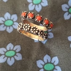 Carolyn Pollak double ring, sterling coral